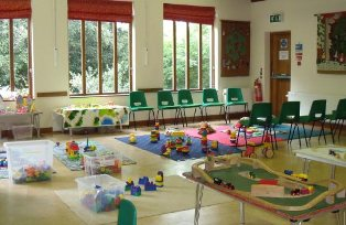 St. Mary's Church Hall set up with activities and toys for Tots and Toddlers